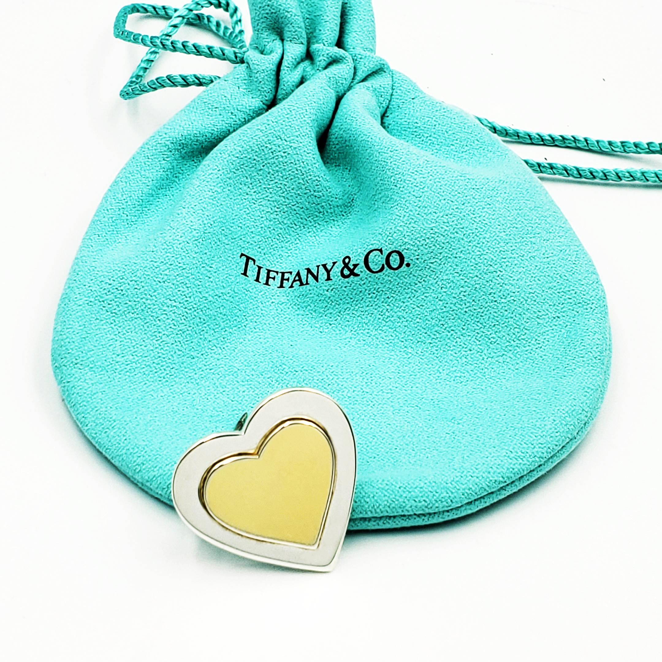 <b>Tiffany & Co.</b><br> Vintage 925 Sterling Silver & 18Karat Yellow Gold Inlay Heart Pin Broach