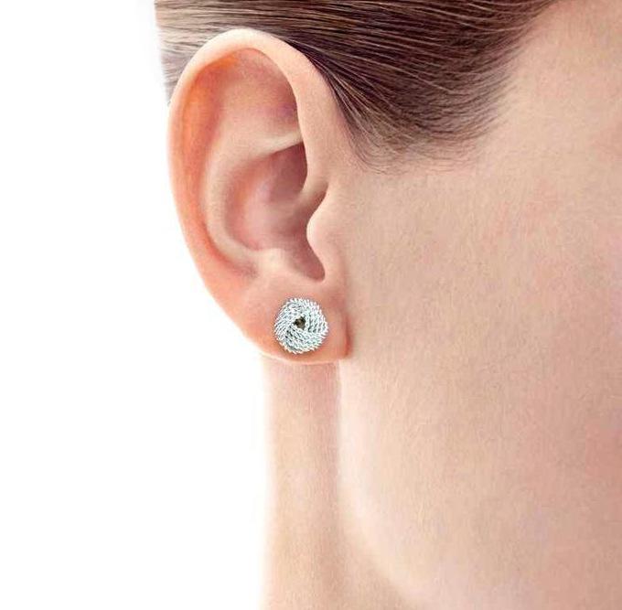 Tiffany Co 925 Sterling Silver Twist Knot Earrings