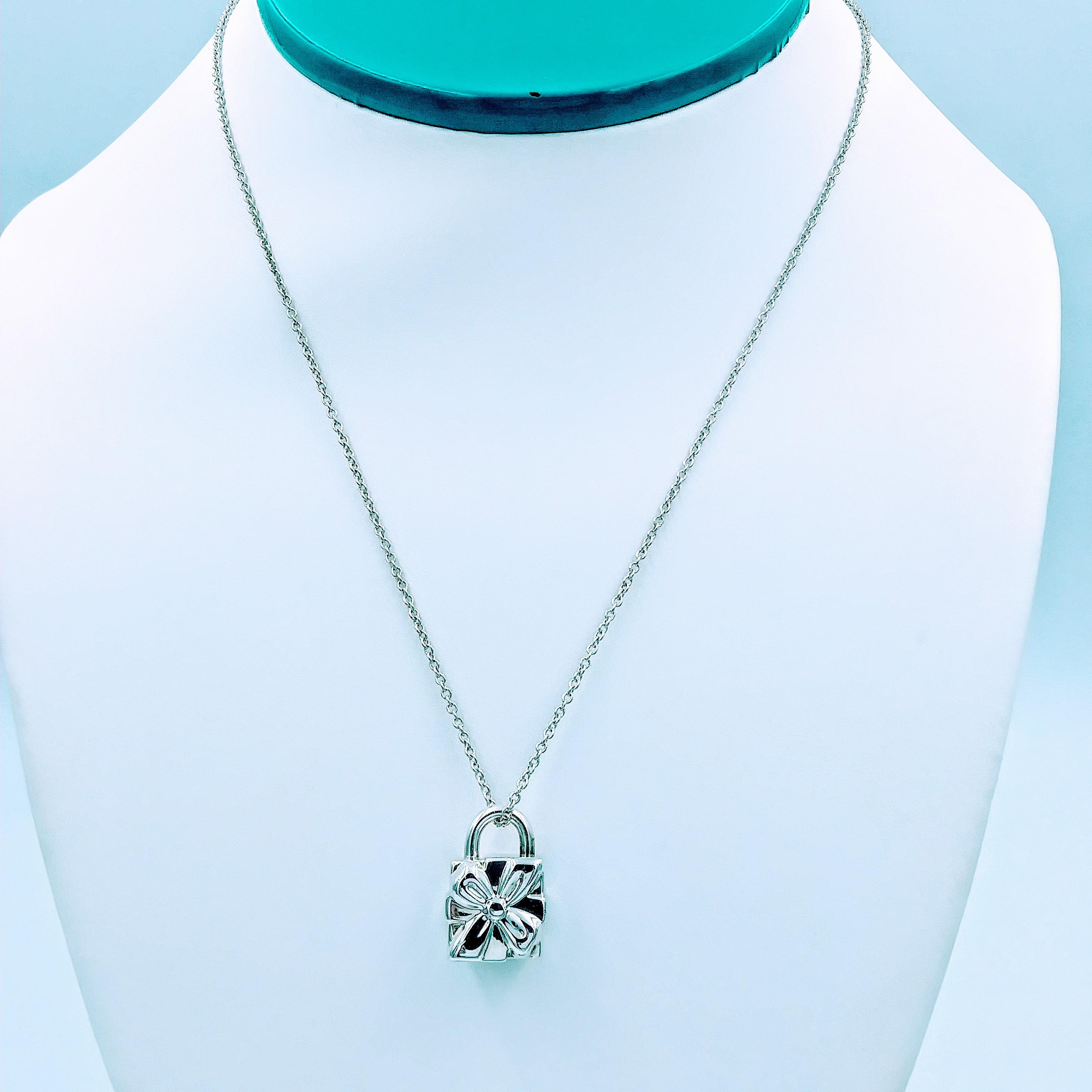 <b>Tiffany & Co.</b> Gift Box Charm Lock Pendant Necklace 16