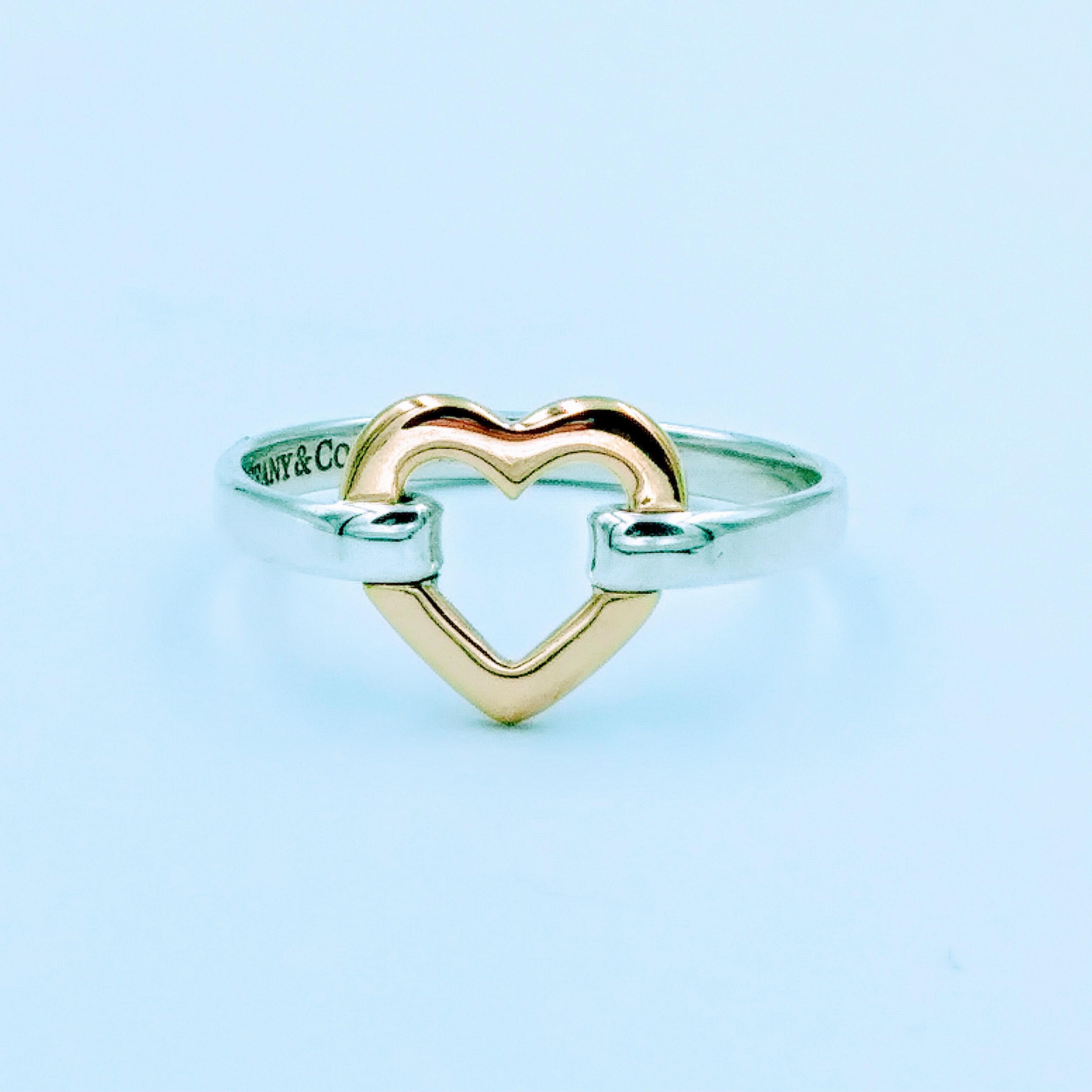 <b>Tiffany & Co.</b> 18k Gold Sterling Silver Open Heart Ring, Size 8