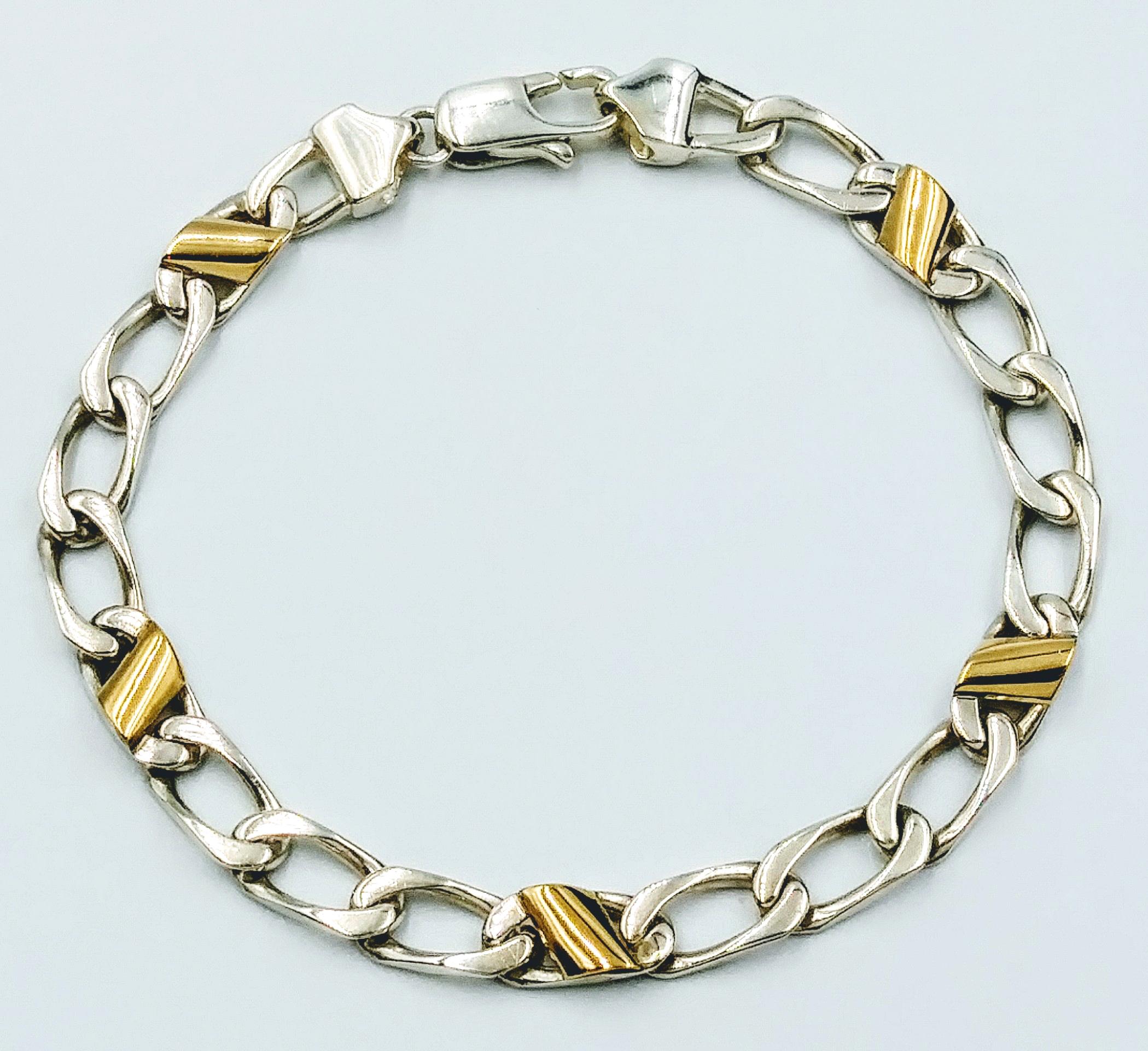 <b>Tiffany & Co.</b> Cuban Link 18k Gold & Sterling Silver Italy Bracelet 7.5