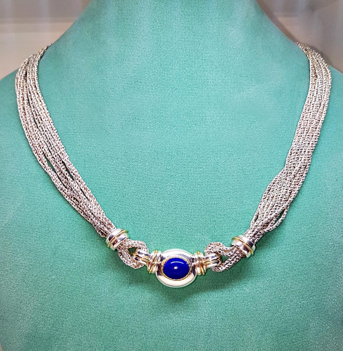 <b>Tiffany &amp; Co.</b>18karat Gold / Sterling Silver Blue Lapis Gemstone 17