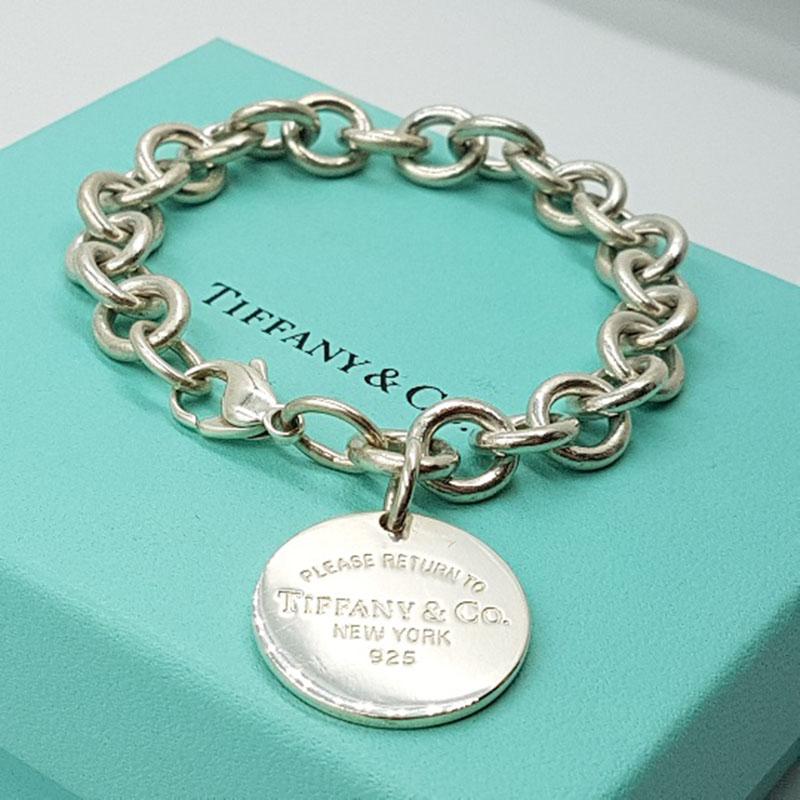 <b>Tiffany & Co.</b> Please Return To Tiffany & Co 925 Sterling Silver Round Charm Bracelet 7.5