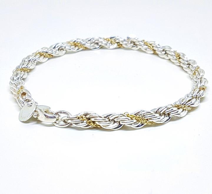 8e65504f2 Tiffany & Co. Sterling Silver 18 Karat Yellow Gold Rope Bracelet ...