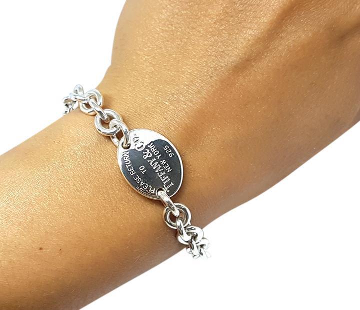 <b>Tiffany & Co.</b> Please Return To Tiffany & Co Oval Tag Bracelet 7.5