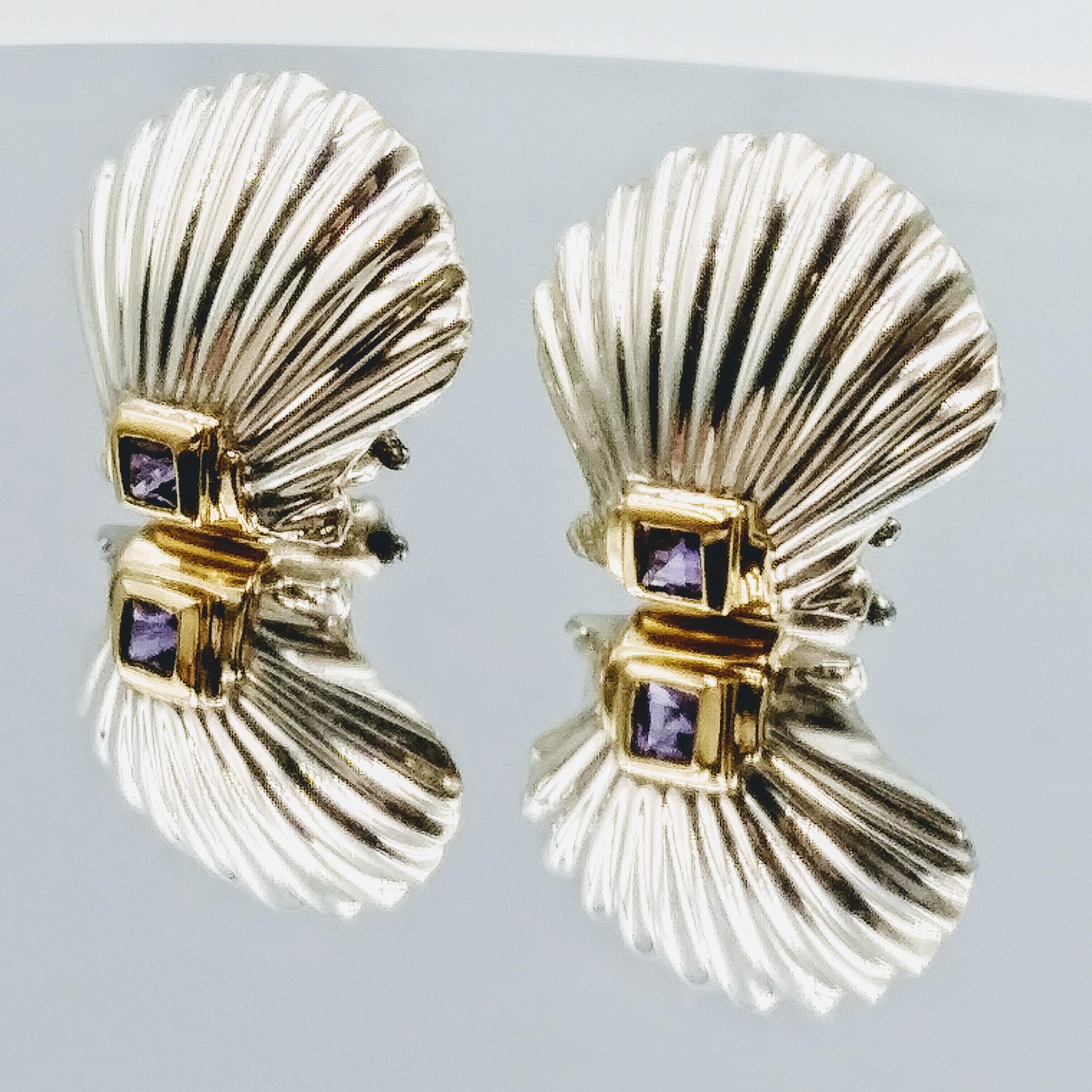 <b>Tiffany & Co.</b> Antique Sterling Silver & 14Karat Gold & Purple Rubies Shell Earrings