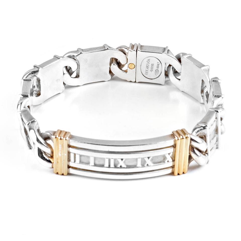 Rare Atlas Roman Numeral Sterling Silver 18k Gold Bracelet Smart Jewelry
