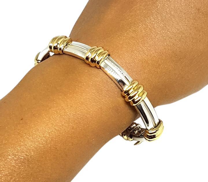 <b>Tiffany & Co.</b> Vintage 1995 18k Gold Sterling Atlas Grooved Bracelet
