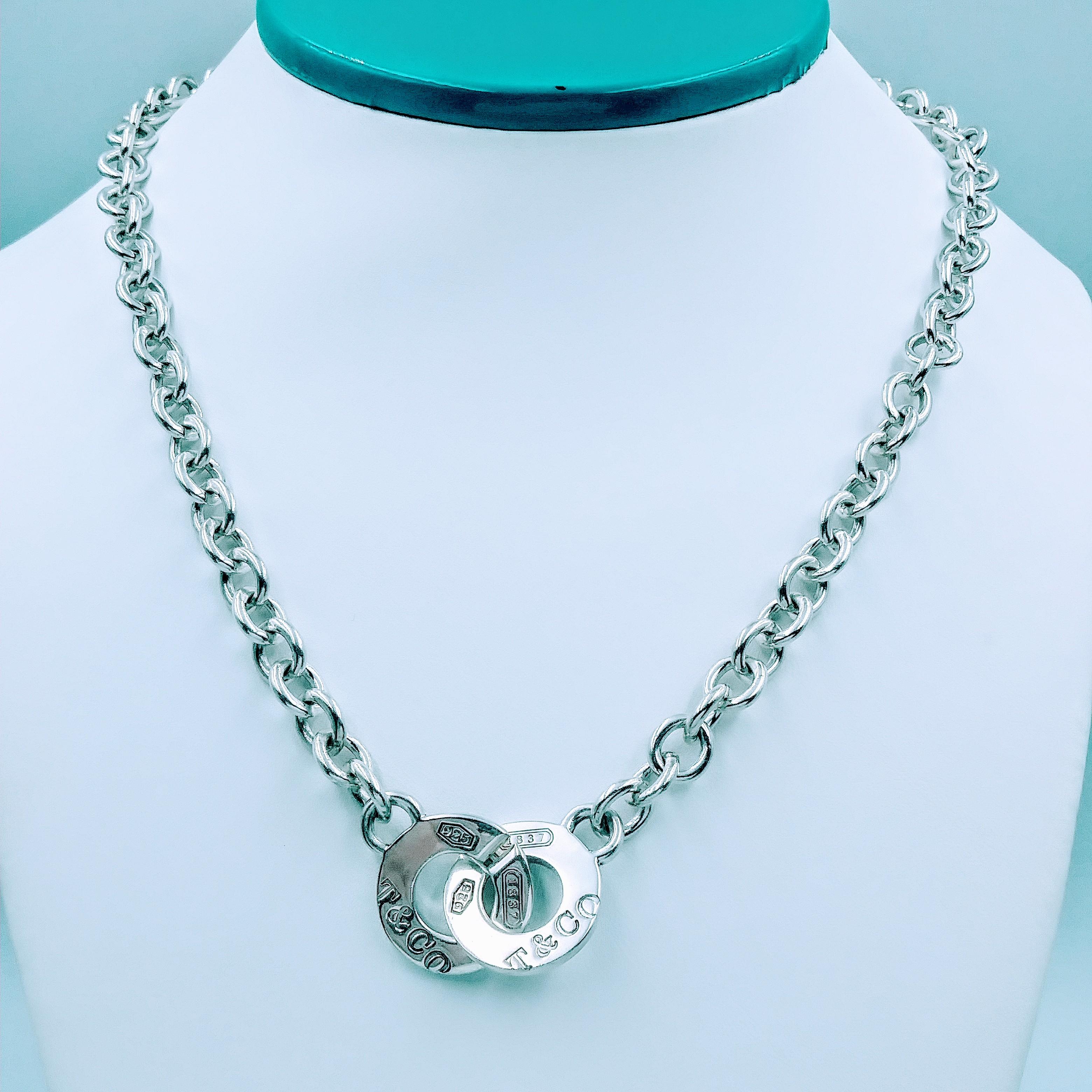 <b>Tiffany & Co.</b> Tiffany & Co 1837 Interlocking Circles Sterling Silver Necklace 17