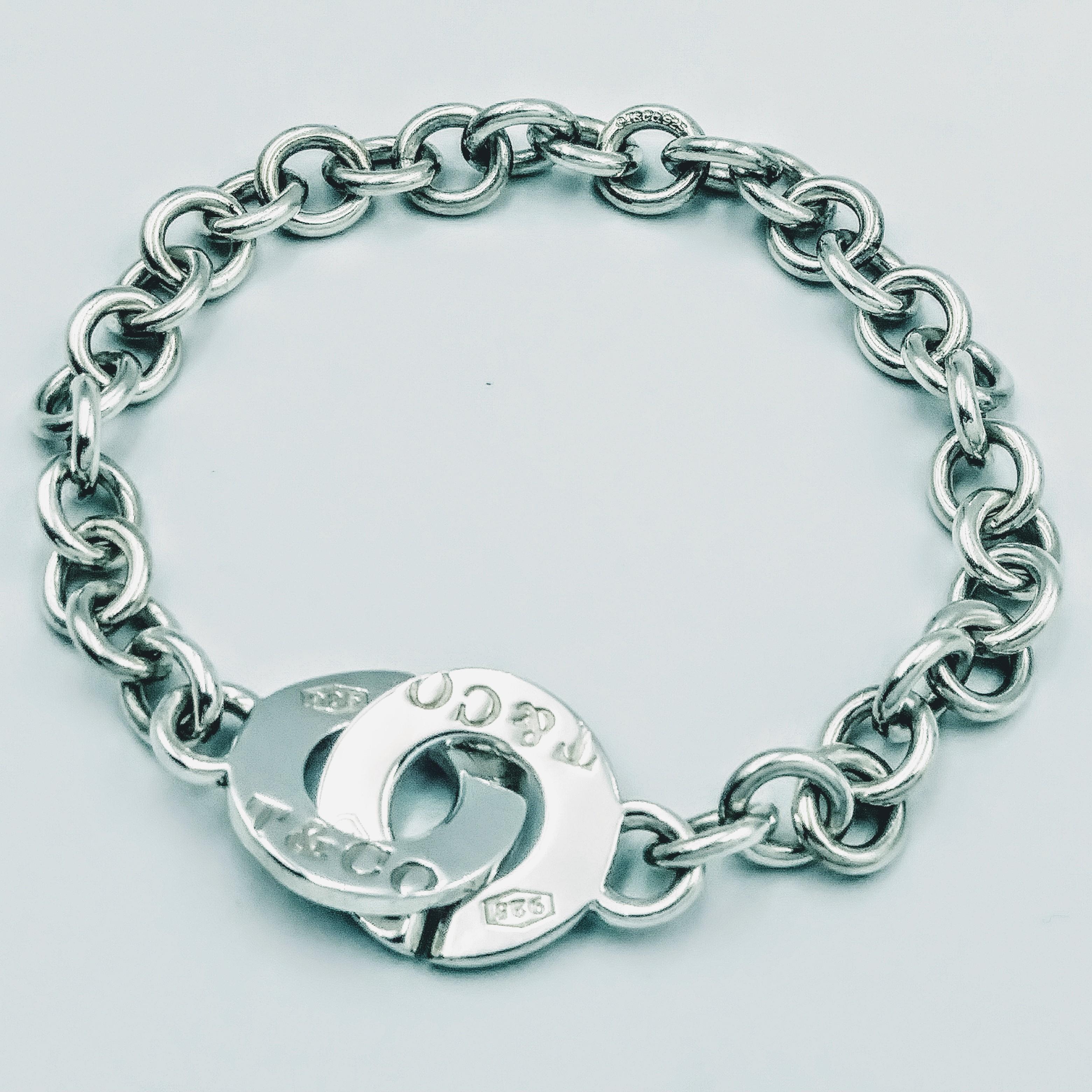 <b>Tiffany & Co.</b> Tiffany & Co 1837 Interlocking Circles Sterling Silver Bracelet 8.5