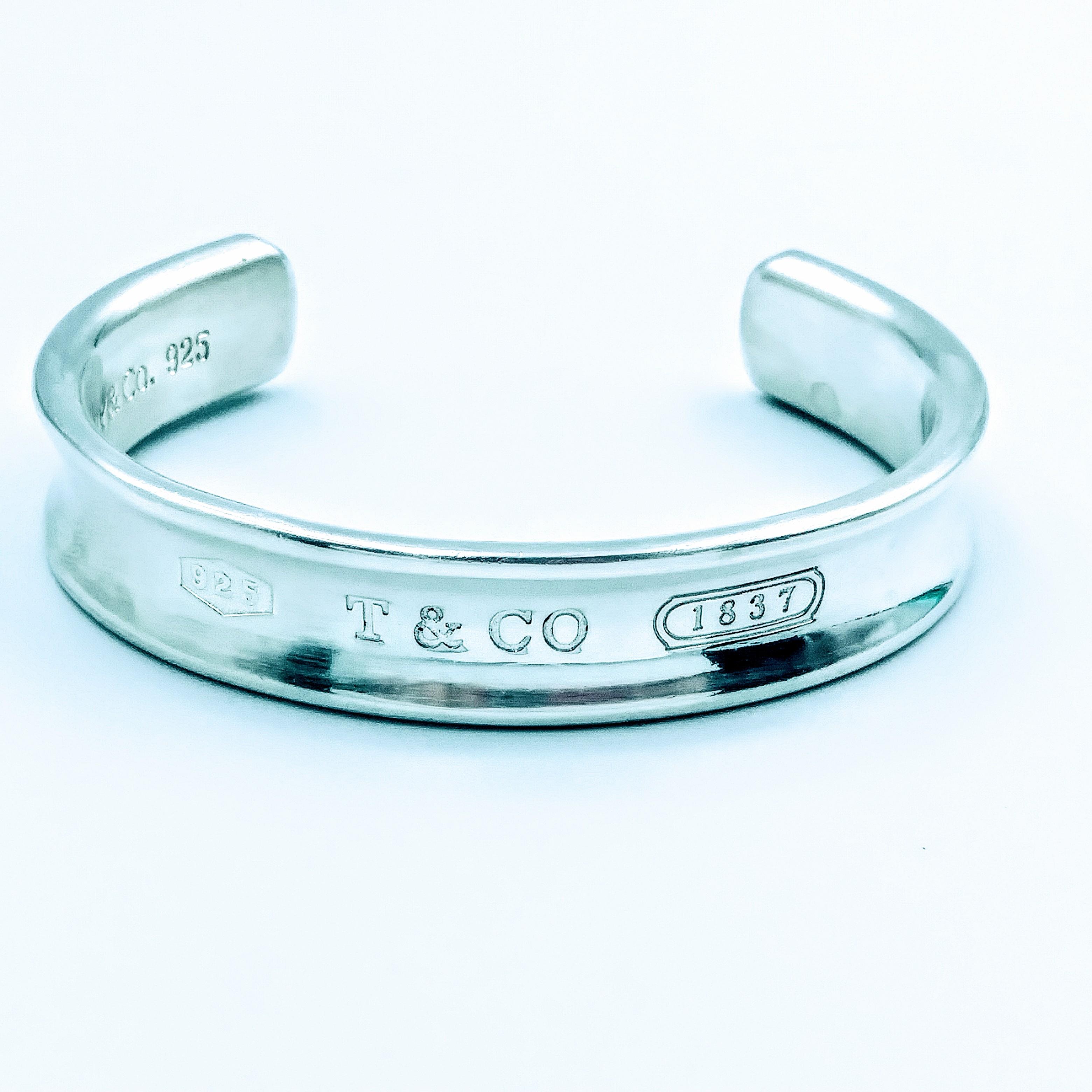 <b>Tiffany & Co.</b> 925 Sterling Silver Tiffany & Co 1837 Cuff Bracelet 7