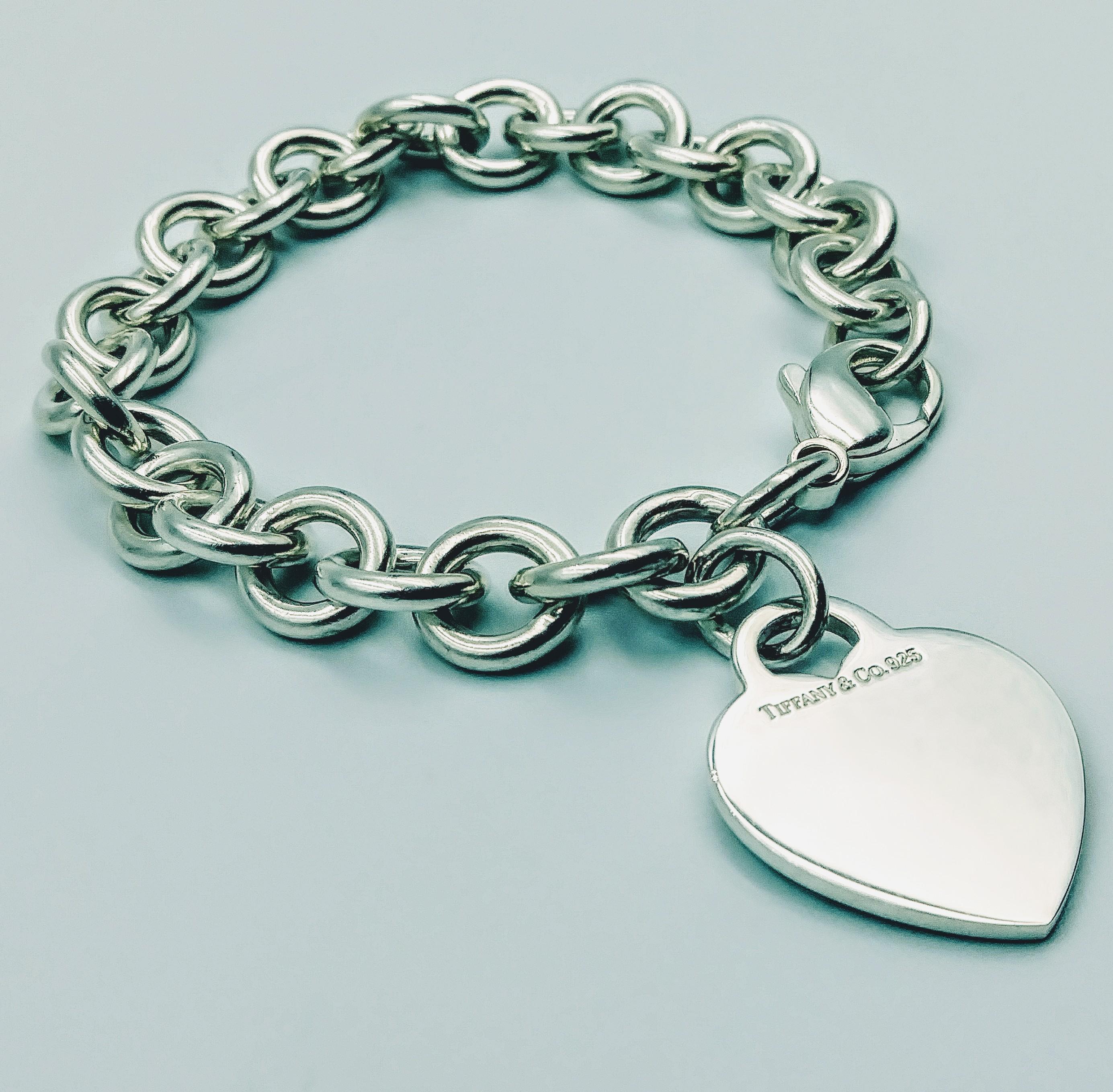 <b>Tiffany & Co.</b> Heart Charm 925 Sterling Silver Bracelet  8.5