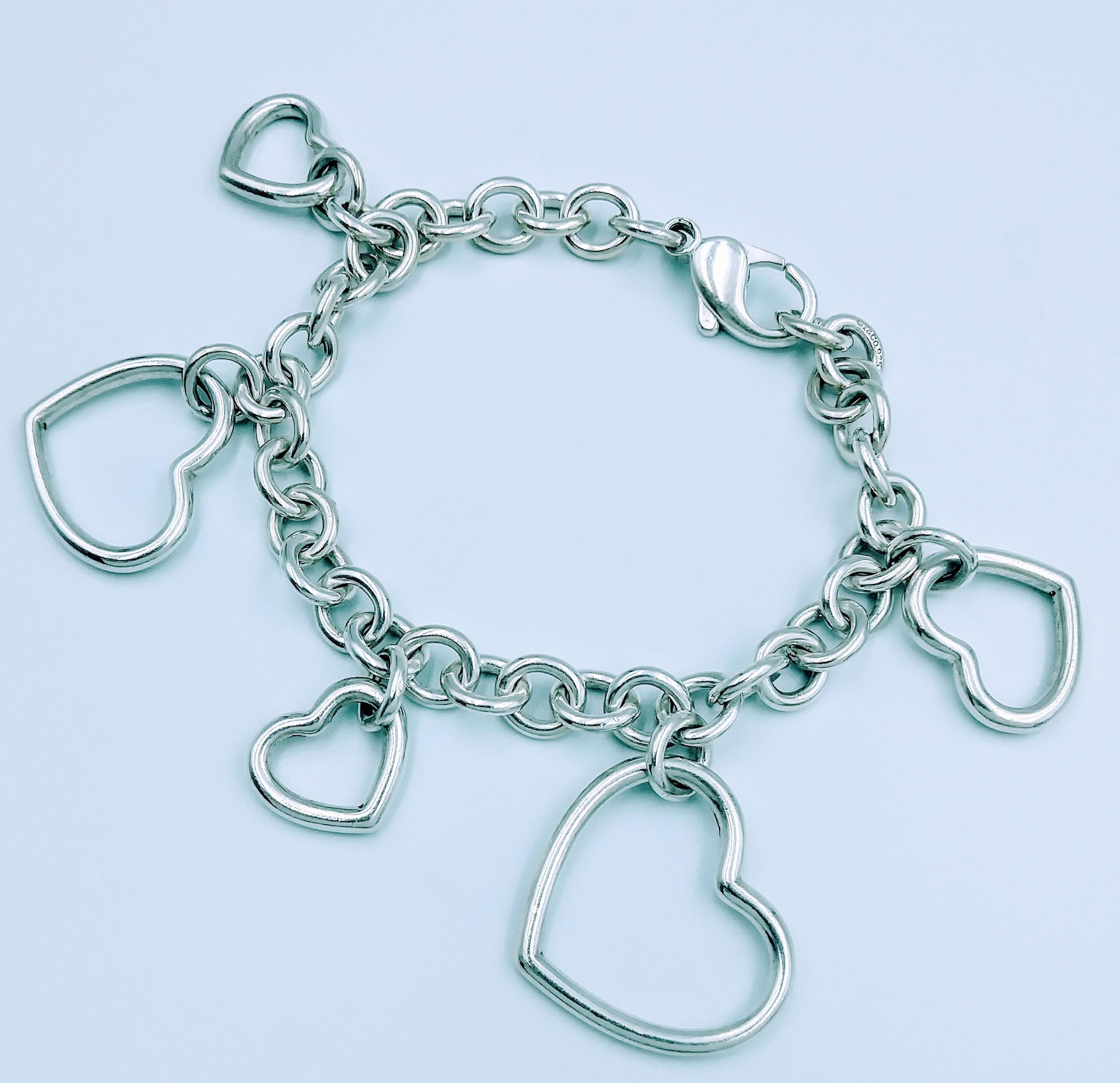 Tiffany & Co 925 Sterling Silver Five Heart Charms Bracelet 7.5